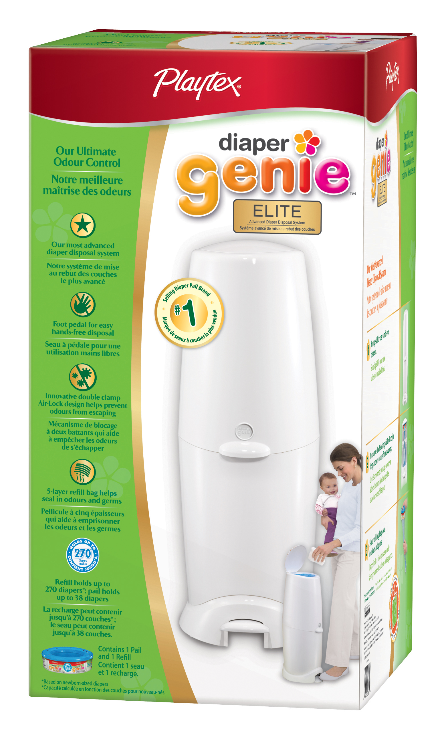 Here's Your Chance to Try the Playtex Diaper Genie Elite, It is also an air-tight seal so that the odor doesn't escape, This famous diaper pail has built-in antimicrobial properties which slow down bacteria growth,