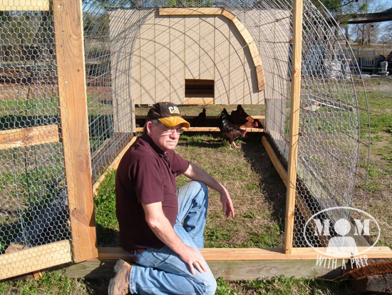 My Dad and his chicken tractor. A DIY Chicken Tractor on the CHEEP @Momwithaprep.com