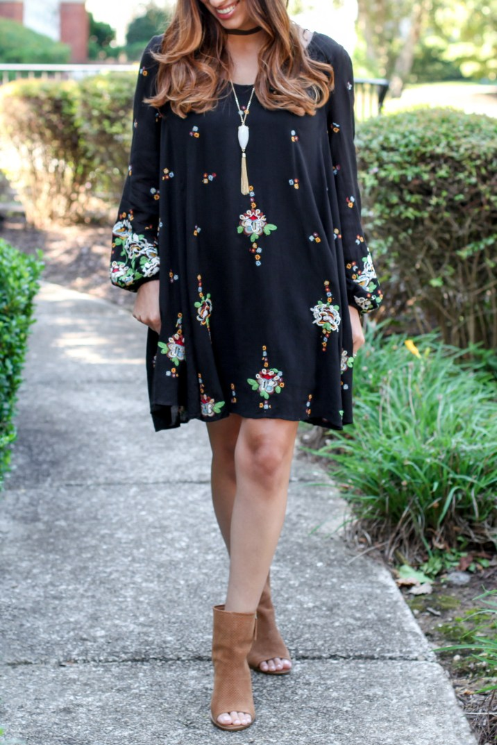 Boho Free People Oxford Swing Dress with Perforated Peep Toe Booties