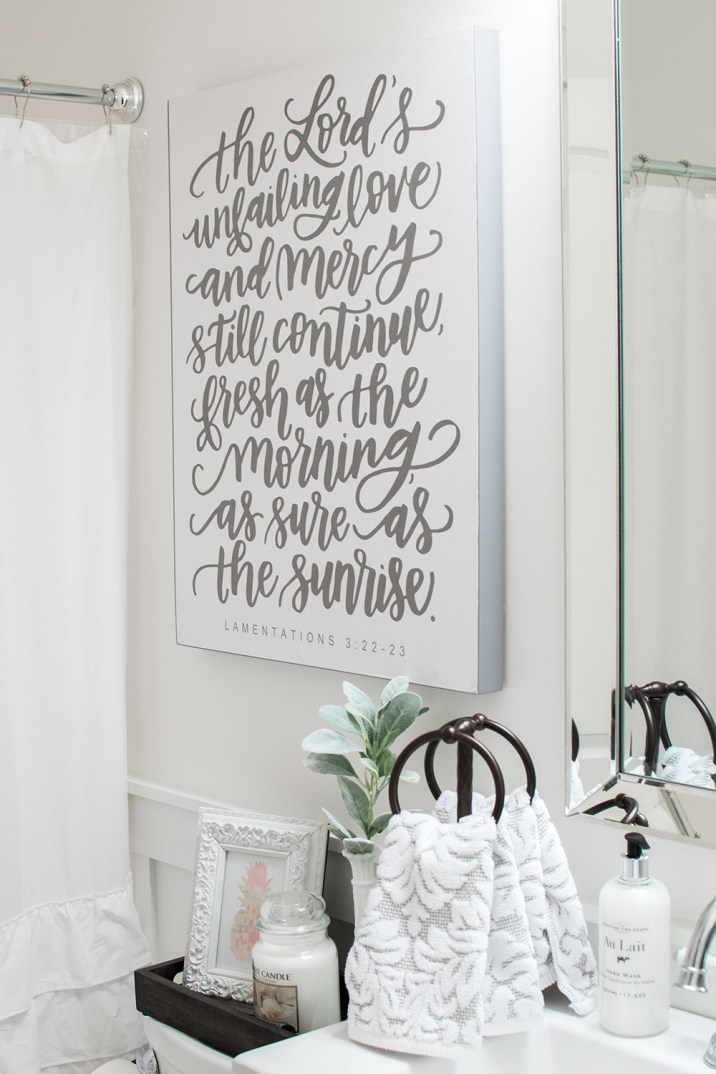 White and Bronze Bathroom Makeover; Farm Sink; Scripture Art