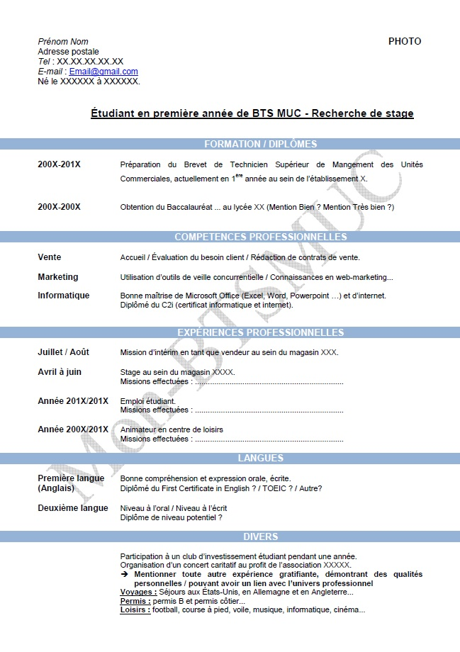 curriculum vitae bts nrc alternance
