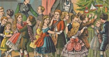 Danse autour de l'arbre de Noël. Peinture de H. J. Overbeek (1877)