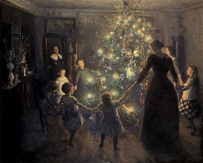 Danse autour de l'arbre de Noël. Toile du peintre danois Johansen Viggo