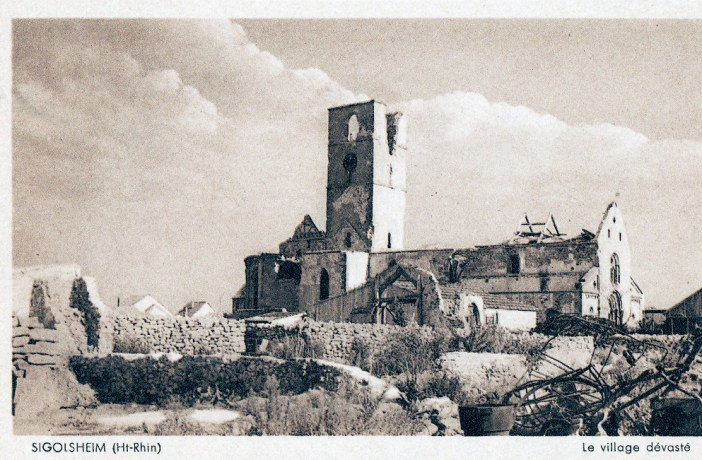 églises d'Alsace - Sigolsheim en ruine en 1944