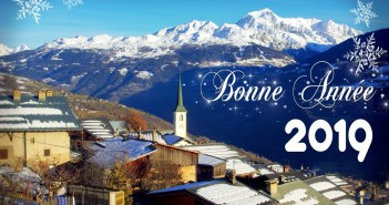 Année 2018 et Bonne année 2019 depuis le village de Granier (Savoie) © French Moments