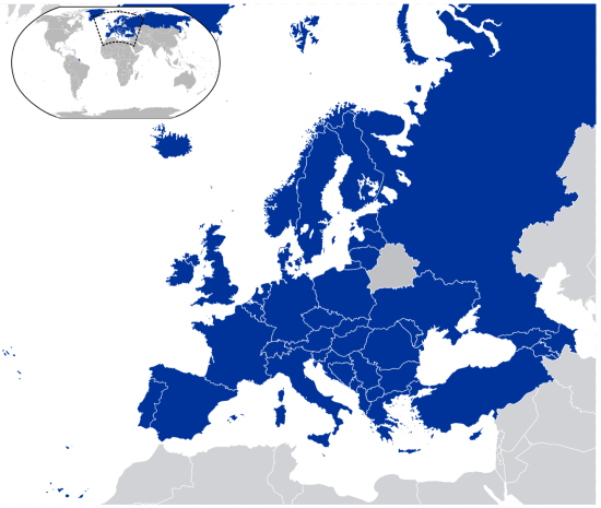 Etats Membres du Conseil de l'Europe © Hayden120 and NuclearVacuum - licence [CC BY-SA 3.0] from Wikimedia Commons