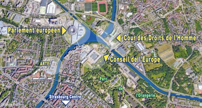 Carte du quartier des institutions européennes à Strasbourg
