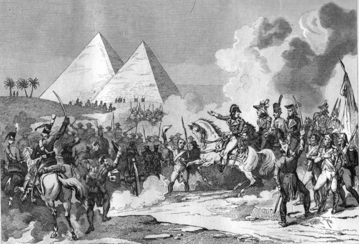 Napoléon aux pyramides pendant la Campagne d'Egypte