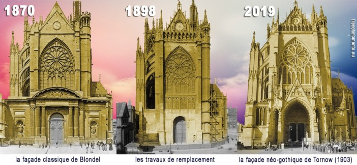 La façade occidentale de la cathédrale de Metz selon les époques (photomontage par French Moments)