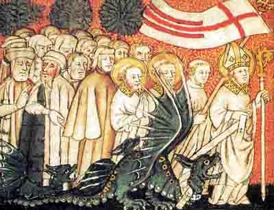 St Clément anéantissant le Graoully de Metz