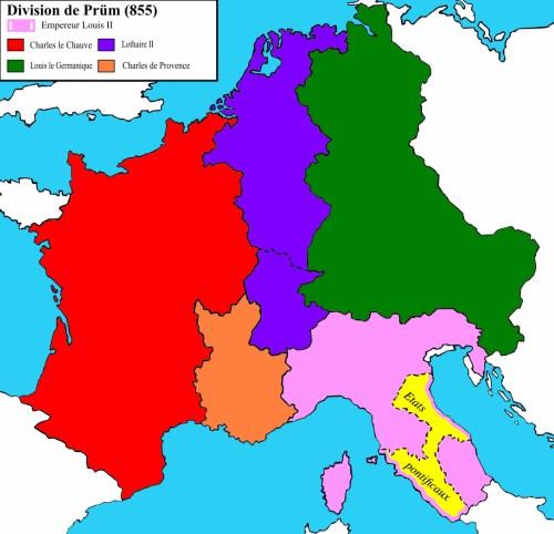 La Francie Mediane au Traité de Prüm (855) © Trasamundo - licence [CC BY-SA 3.0] from Wikimedia Commons