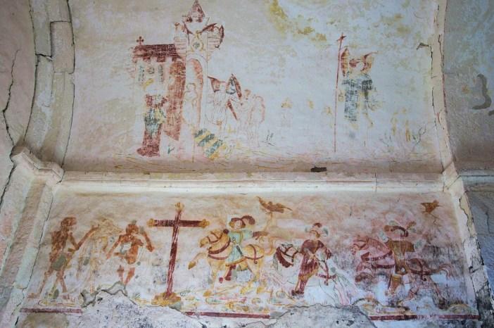 Les fresques de la chapelle du vieux Astre - Le Dit des trois morts et des trois vifs (Domaine Public)