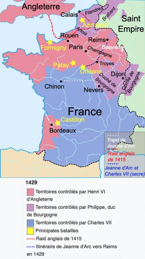 Le parcours de l'épopée de Jeanne d'Arc © Aliesin - licence [CC BY-SA 3.0] from Wikimedia Commons