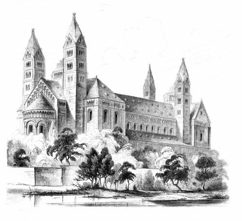 Vue romantique de la cathédrale de Spire en 1858