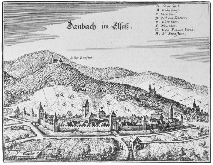 Dambach au milieu du 17e siècle par Matthäus Merian