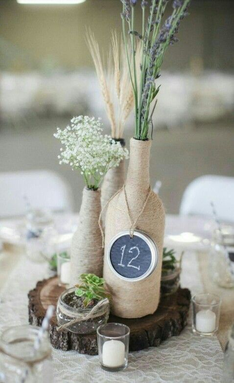 centre de table mariage lavande gypsophile ble