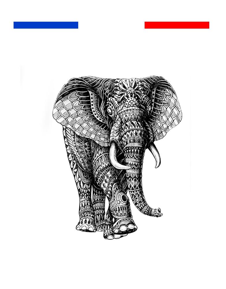 Tatouage Éléphant Mandala Femme Temporaire  Mon Petit