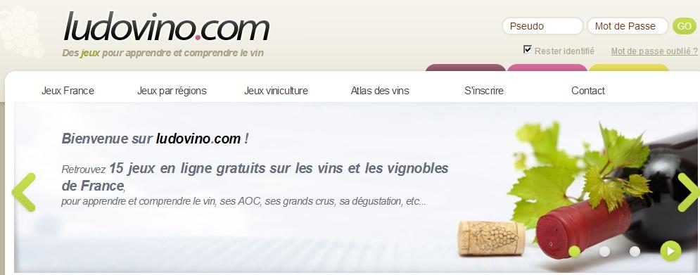 page d'accueil du site internet www.ludivino.com
