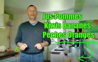 Jus de pommes bananes kiwi pêches oranges