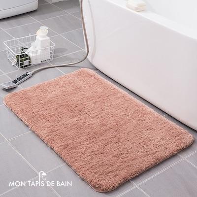 tapis de bain absorbant coton doux rose 2