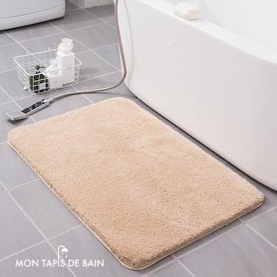 tapis de bain doux et hyper absorbant beige