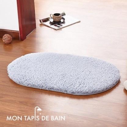 tapis de bain memoire de forme bleu