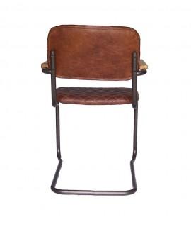fauteuil napa cuir marron vieilli et surpiqures