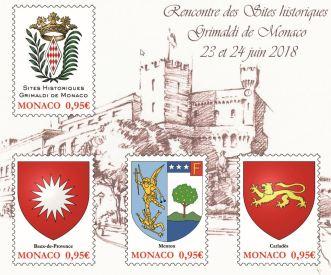 Incontri dei Siti Storici Grimaldi di Monaco, francobolli in vendita durante gli Incontri nella Piazza del Palais