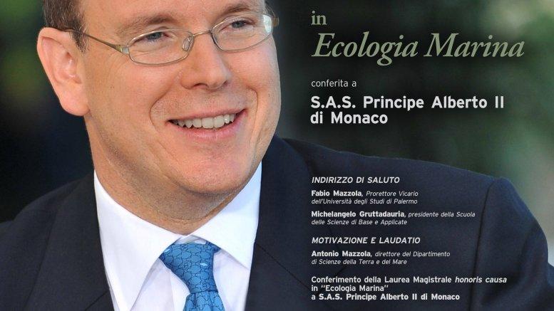 Oggi, 14 marzo 2018, ricorrono i 60 anni del Principe Alberto di Monaco: nella foto la locandina della Laurea Honoris Causa in Ecologia marina conferita lo scorso ottobre a Palermo