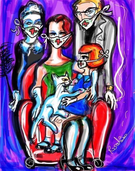 Ritratto di Famiglia con Gatto e Mascherine ai Tempi del Coronavirus
