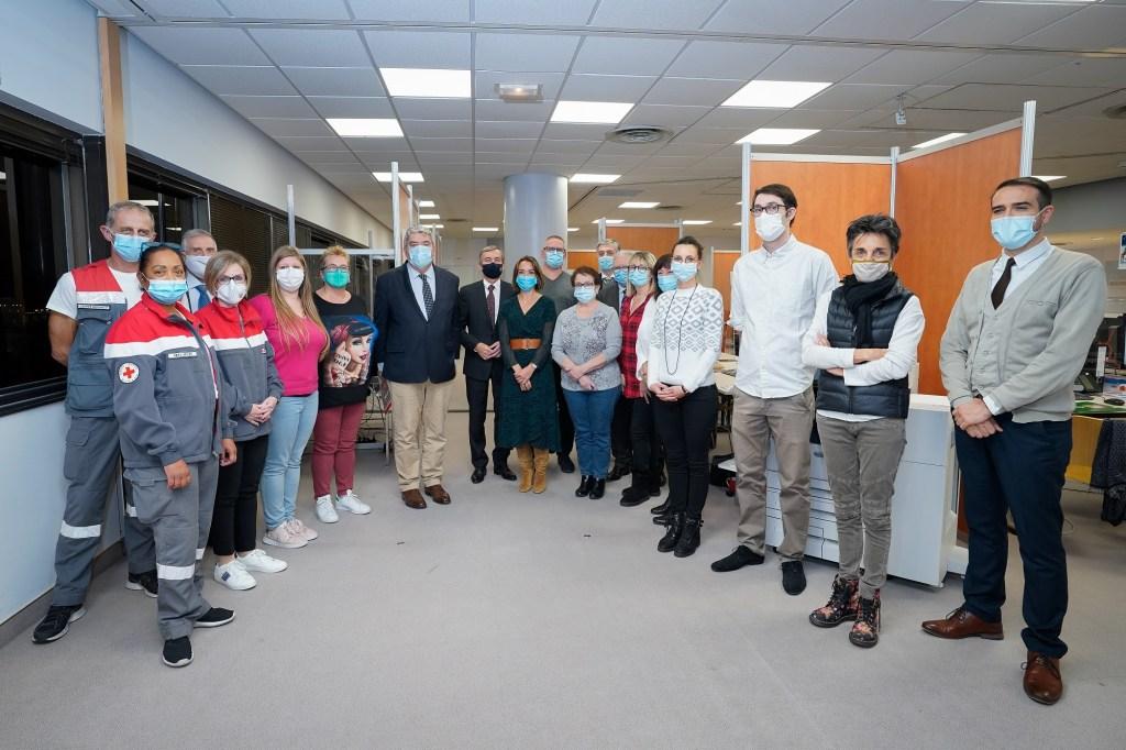 Coronavirus: il Ministro di Stato del Principato di Monaco Pierre Dartout durante la visita al Centro di Monitoraggio per i Pazienti a Domicilio