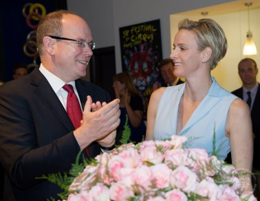 Prince Albert and Princess Charlene with roses named after the Princess, June 14, 2014@ Prince's Palace))