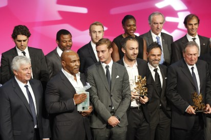 Mike Tyson with Pierre Casiraghi on stage @SportelMonaco