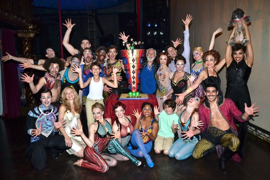 Nicolas (down far right with moustache) clebrating their 20th performance of Pippin and the 500th representation of the show!