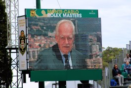 HSH Prince Rainier III image on the screen of Central Court at MCCC Apr 19, 2015 @CelinaLafuenteDeLavotha