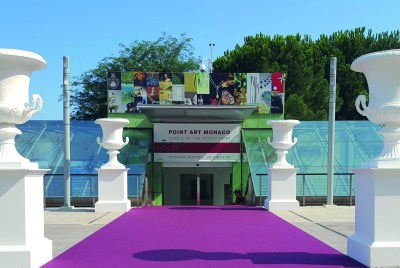 Entrance to Point Art Monaco and Jewels of the World fairs in Diaghilev space at Grimaldi Forum Monaco @PAM