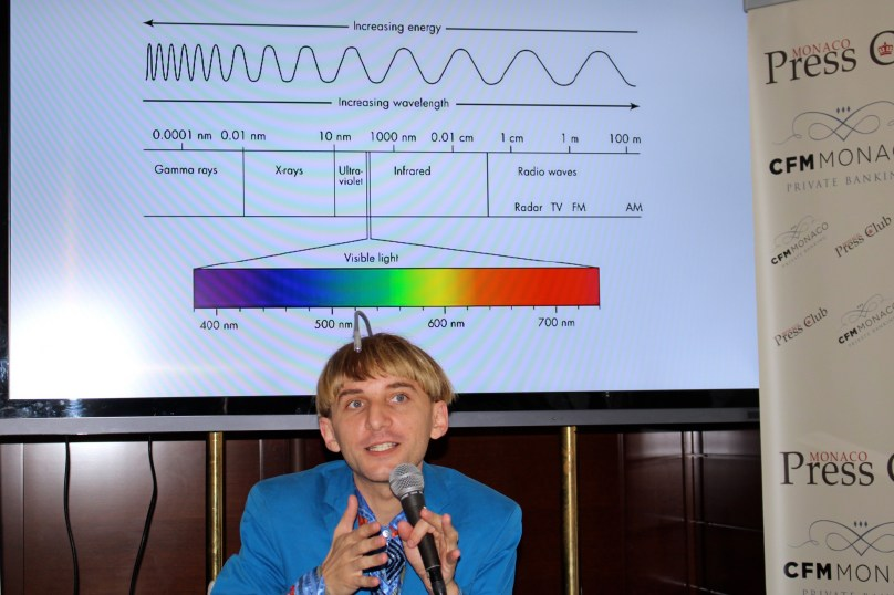 Neil Harbisson with during his presentation at the YCM @CelinaLafuenteDeLavotha
