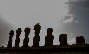 Profile of Moai massive caraved rock head figures @ MOM