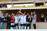 The Tunisian team holding the Cup celebrating with Prince Albert and Princess Charlene @CelinaLafuenteDeLavotha