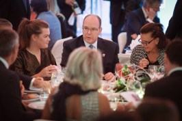 HSH Prince Albert with Princess Stephanie and Camille daughter of the Princess at the art auction @FAM 2016