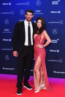 MONACO - FEBRUARY 14: Laureus World Comeback of the Year nominee Swimmer Michael Phelps of the US and Nicole Phelps attend the 2017 Laureus World Sports Awards at the Salle des Etoiles,Sporting Monte Carlo on February 14, 2017 in Monaco, Monaco. (Photo by Eamonn M. McCormack/Getty Images for Laureus) *** Local Caption *** Michael Phelps; Nicole Phelps
