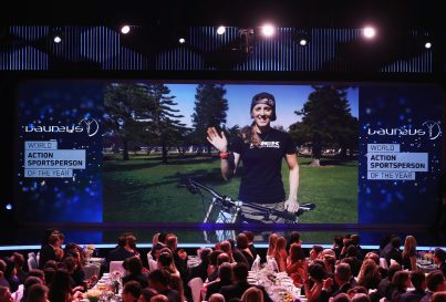 MONACO - FEBRUARY 14: Mountain Biker Rachel Atherton of Great Britain via video link speaks after winning the Laureus World Action Sportsperson of the Year Award during the 2017 Laureus World Sports Awards at the Salle des Etoiles,Sporting Monte Carlo on February 14, 2017 in Monaco, Monaco. (Photo by Matthew Lewis/Getty Images for Laureus) *** Local Caption *** Rachel Atherton