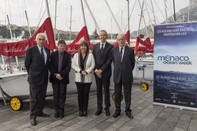 Bernard d'Alessandri, Dennis Allemand, Marie Pierre Gramaglia, Robert Calcagno and Bernard Fautrier at the launching of the Monaco Ocean Week @ M.Dagnino MOM