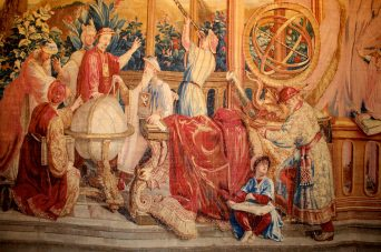 Detail of The Astronomers, third section of the tapestry The Story of the Emperor of China, Beauvais Tapestry 1722-1734 @CelinaLafuentedeLavotha