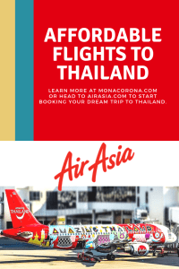 Click this pin to read about Air Asia's affordable flights to Thailand in this Bangkok travel guide | MonaCorona.com | @TakeMeTour | #bangkok #thailand #travelguide #hotels #travel #floatingmarket #thingsdoinbangkok #shoppinginbangkok #tours #itinerary #bangkokitinerary #rooftopbar #restaurant #rooftop #cheapflights #airasia