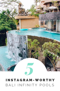 Traveling to Bali? Click here to see the top 5 Bali Pools to feed your Instagram dreams! | MonaCorona.com | Things to do in Bali, Indonesia | #Bali #thingstodoin #hotels #beaches #travel #wanderlust #bucketlist #vacation #honeymoon #ubud #seminyak #itinerary #uluwatu #instagram #canggu #indonesia #tips #beachclub #infinitypool #villa #resorts #restaurants #holiday