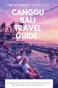 Click through for the ultimate Canggu, Bali travel guide. Read all about the top things to do in Canggu, the best restaurants in Canggu, where to stay in Canggu, the best beach clubs in Canggu, where to do yoga in Canggu, where to surf in Canggu, where to shop in Canggu, and so much more! Click to find out why Canggu needs to be a part of your Bali Itinerary. | #canggu #bali #indonesia #travel #itinerary #villa #hotels #restaurants #yoga #surf #beaches #seminyak #kuta