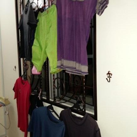 Clothes washed and hanged to dry on Monday. Still found hanging.
