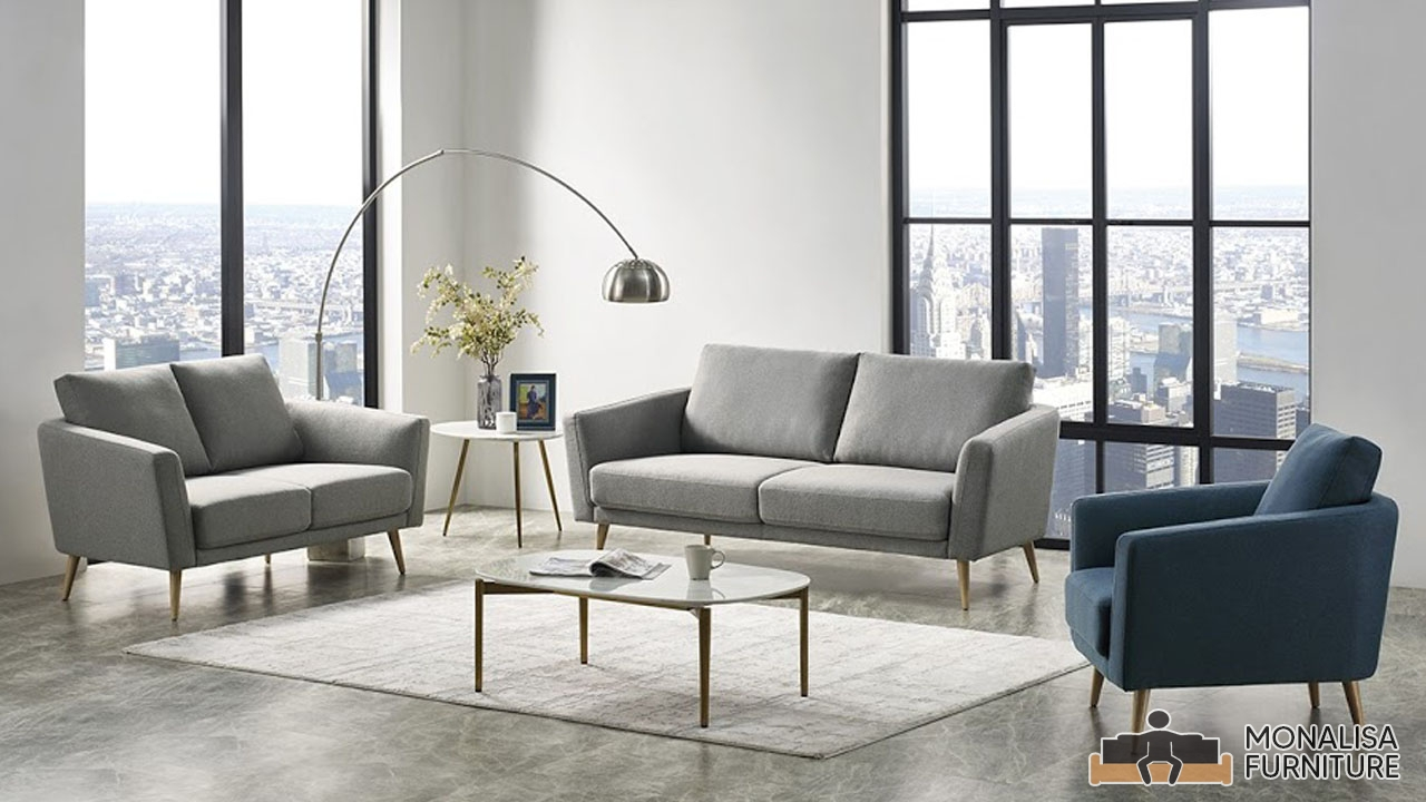 Modern Grey Blue Sofa Set 3 2 1 Monalisa Furniture