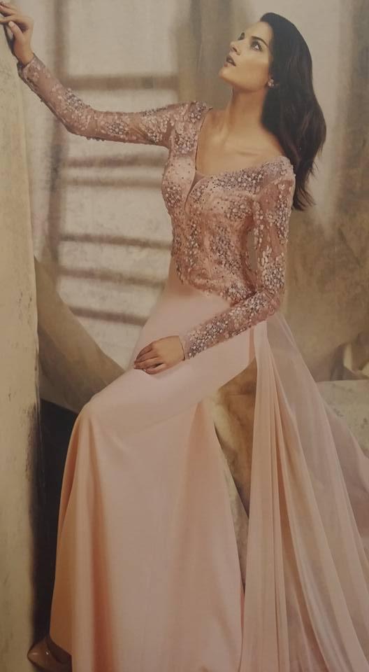 robe libanaise rose avec voile